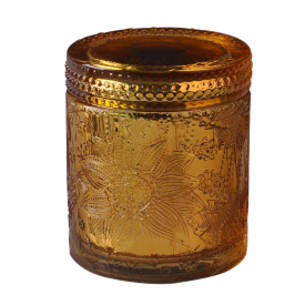 China Luxury Embossed Glass Candle Jar With Glass Lid For Wax Making factory