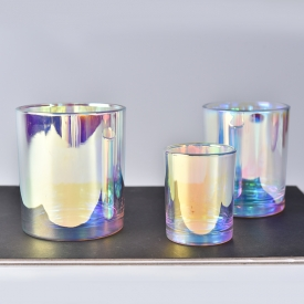 China Luxury Holographic Effects Glass Candle Holder 6OZ 8OZ 10OZ factory