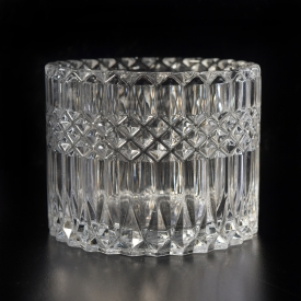 China Luxury diamond embossed glass candle jar factory