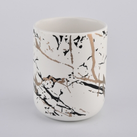 China kilang matte white ceramic candle jar with goldcolor  printing