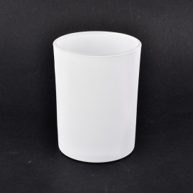 China Matte White Glass Candle Jars For Decoration factory