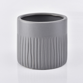 China Matte grey ceramic candle jar with tree pattern 500ml factory