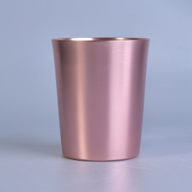China New arrived 10oz rose gold metal taper candle jar factory