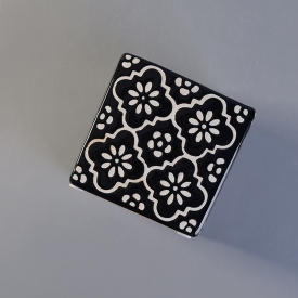 China New arrived black square ceramic candle holder with custom print factory