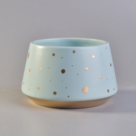 China Novel design blue ceramic candle holder with gold painted factory