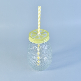 China Pineapple Glass Drinking Jar with Lid factory