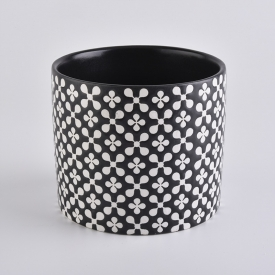 China Popular Black Cylinder Candle Holder Ceramic For Home Decoration factory