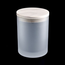 Chiny Frosted Glass Candle Jar With Wooden Lids Wholesale fabrycznie