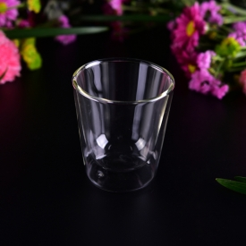China Popular style V shape clear  double wall glass for wholesale factory