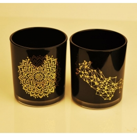 China Real gold black glass candle jar wholesale factory