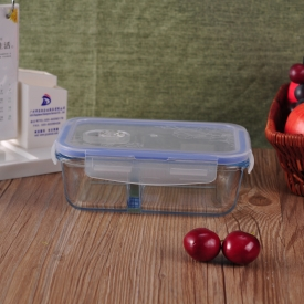 China Rectangle Compartment Pyrex Glass Lunch Box factory