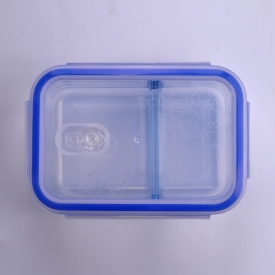 China Rectangular Double Decker Bowl Glass Food Container Lunch Box factory