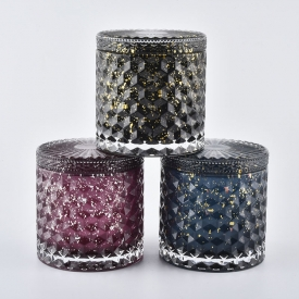 China Red Embossed Glass Candle Jars With Special Decoration factory