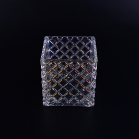 China kilang Square glass candle jar with ion plating finish