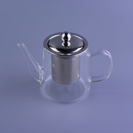 China Staight long body borosilicate tea pot glass with filter factory