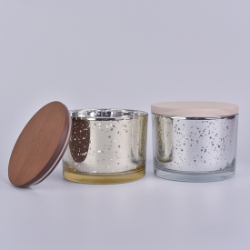 China Stock cheap 12oz mercury glass candle jars with wood lid factory