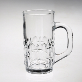China Tall clear glass beer mug with handle factory