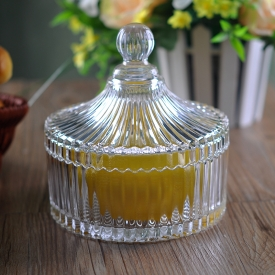 China USA hot selling home decor clear vertical stripes glass candle jar factory