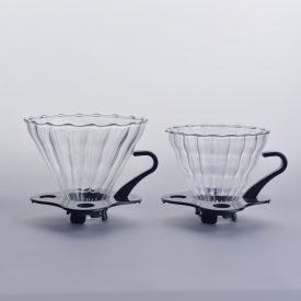 China Unique Boroslicate Glass Coffee Filter with black stand and handle factory