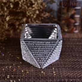 China kilang Unique Silver Domite pemegang lilin seramik