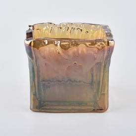 China Unique glass candle jar square shape factory