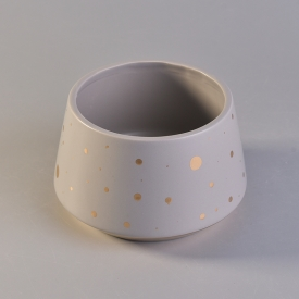 China Unique shape ceramic candle vessel with gold color dots factory
