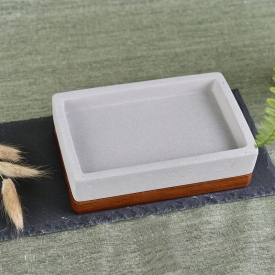 China Unique square concrete soap dish with wood base factory