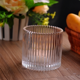 China Vertical Stripe Clear Candle Container Wholesale factory