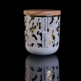 China kilang White Color Ceramic Candle Jars With Lids