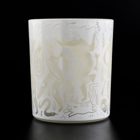 China White glass candle holder frosted finish factory