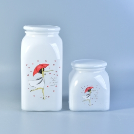 White glass jar food container with lid