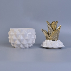 China White pineapple ceramic jar with gold lid 12 oz volume factory