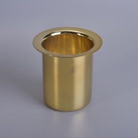 China Wholesale Home Decoration Metal Vessels For Gold Plating Stainless Steel Candle Jars Holders factory
