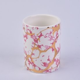 China Wholesale Marble Pattern Ceramic Candle Holders factory