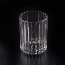 China Wholesale Popular Stripe Pattern Glass Candle Jars factory