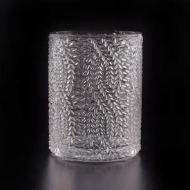 China Wholesale beautiful luxury decorative embossed glass candle holder factory