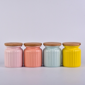 China Wholesale blue containers ceramic colored candle jar with cork lids factory
