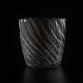 China Wholesale custom twisted lines pattern glass candle holder factory