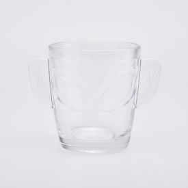 China Wholesales 9oz Wing Glass Candle Holders Clear Transparent Glass Mug fábrica