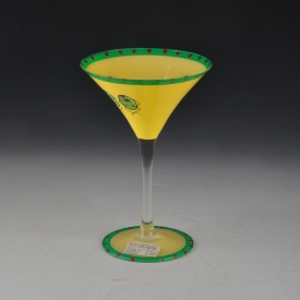 China Yellow martini hand painted glass cup factory