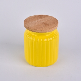 China Yellow pumpkin ceramic container with wood lid factory