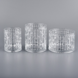 China bamboo joint pattern glass candle jars for wax factory