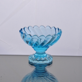 China blue glass ice cream/dessertcup with round shape factory