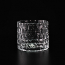China Clear Embossed Glass Candle Jar Manufacturer factory