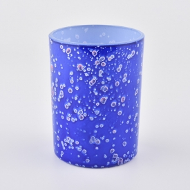 China cell effect blue glass candle jar for 2020 factory