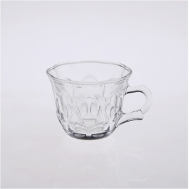 China clear glass coffee with handle factory