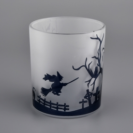 China decorative glass candle jars for Hallowmas factory