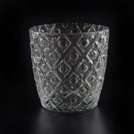 embossed pattern glass 6oz votive candle holders