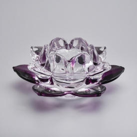 China flower shape glass candle holder in purple factory