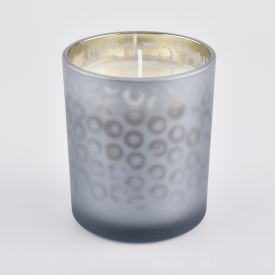 China frosted glass candle jar with spraying color factory